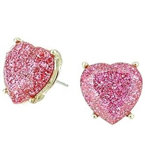 Betsey Johnson Women's Glitter Heart Stud Earrings